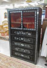 MOTHER-OF-PEARL AND BLACK LACQUER DISPLAY CABINET