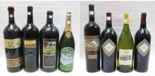 EIGHT LARGE PRESENTATION BOTTLES OF WINE AND CHAMP