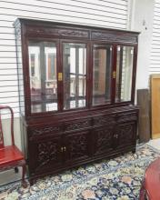 CHINESE CARVED ROSEWOOD CHINA CABINET ON BUFFET, t