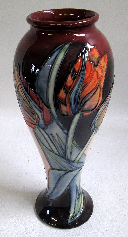 MOORCROFT POTTERY VASE, hand painted under glaze,