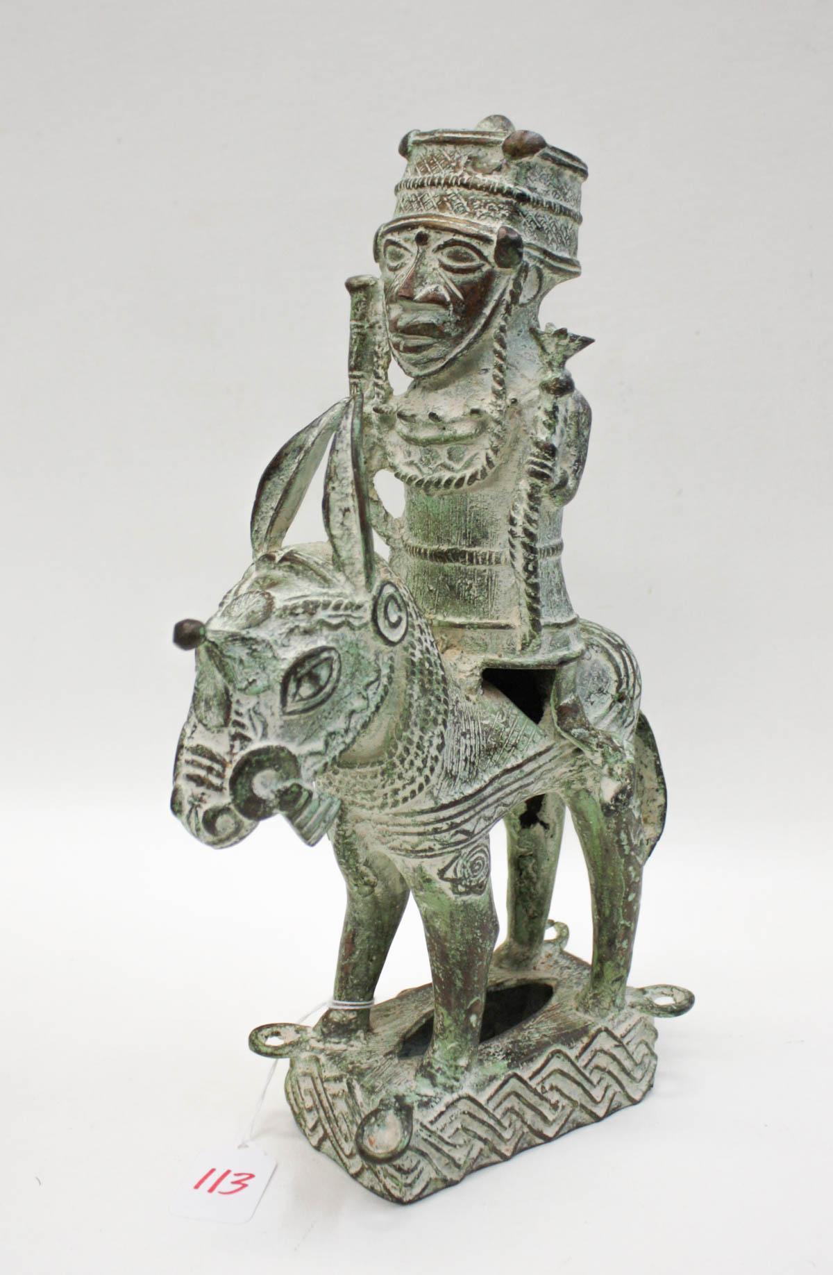 AFRICAN PATINATED BRONZE HORSE & RIDER SCULPTURE