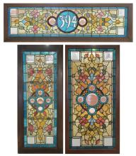 THREE SIMILAR LATE VICTORIAN STAINED AND LEADED GL