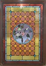LATE VICTORIAN STAINED AND LEADED GLASS WINDOW, Am