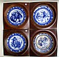 FOUR FRAMED WEDGWOOD FLOW BLUE DINNER PLATES, from