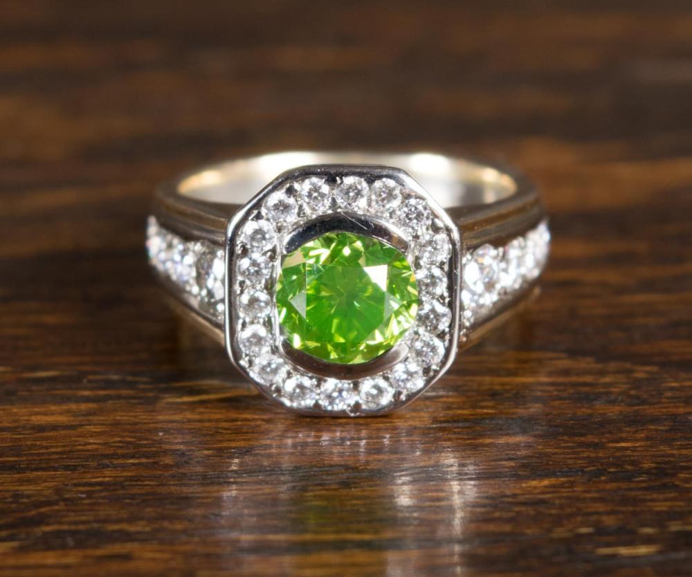 GREEN DIAMOND, PLATINUM AND FOURTEEN KARAT GOLD RI