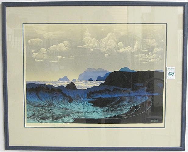ELTON BENNETT SERIGRAPH in shades of blue & black.