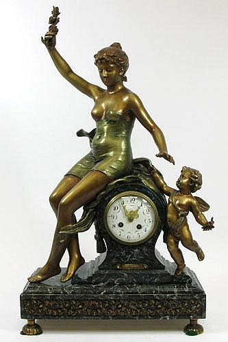 FRENCH BRONZE AND MARBLE STATUE CLOCK,