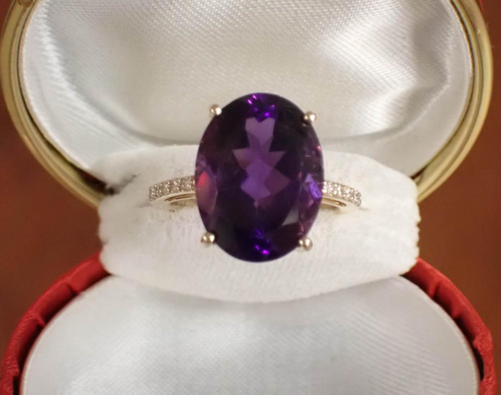 AMETHYST DIAMOND AND FOURTEEN KARAT GOLD RING