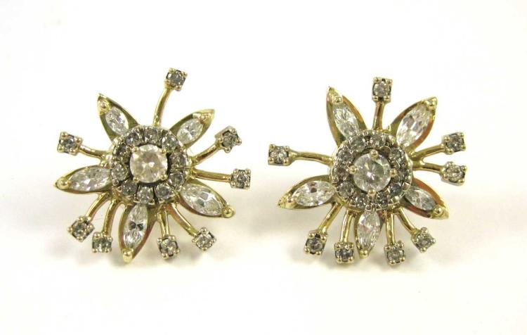 ESTATE DIAMOND AND FOURTEEN KARAT GOLD EARRINGS