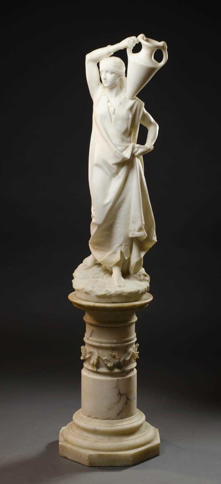 EMILE BOYER FIGURAL MARBLE SCULPTURE ON PEDESTAL