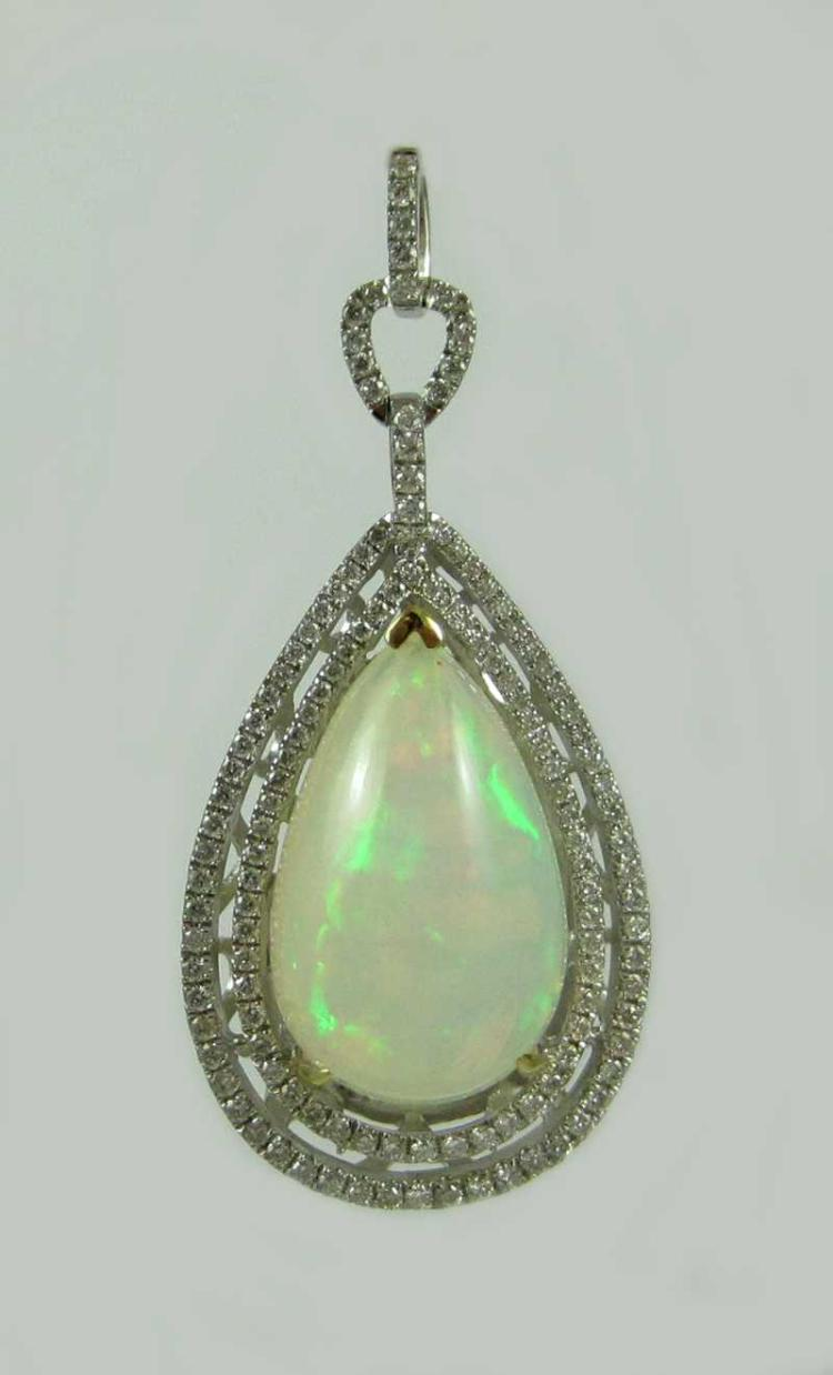 OPAL, DIAMOND AND FOURTEEN KARAT GOLD PENDANT