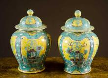 CHINESE QING PORCELAIN COVERED JARS