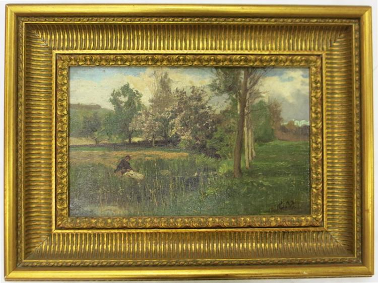 ATTRIBUTED TO CHARLES VOLKMAR OIL ON CANVAS