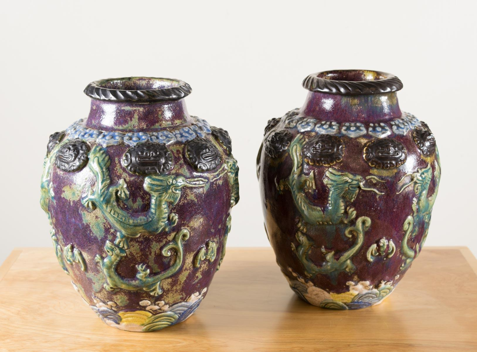 PAIR OF CHINESE POTTERY VASES, with high shoulders