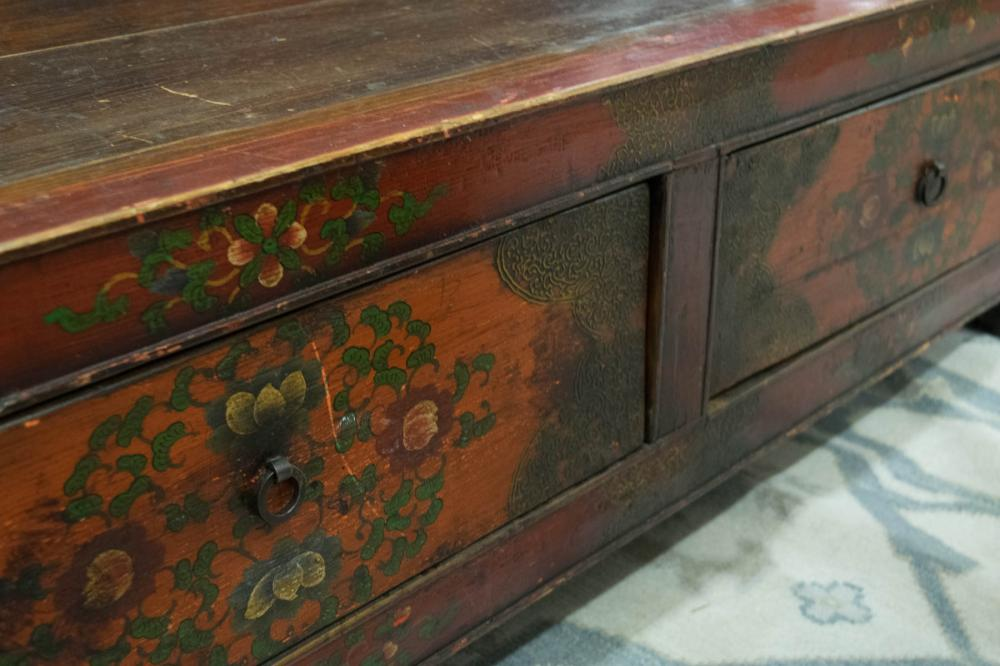 PAINT DECORATED WOOD BENCH, Tibet, 20th century, h