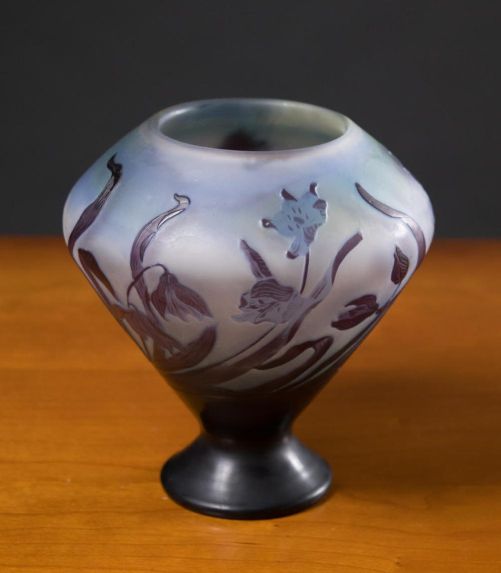 EMILE GALLE CAMEO GLASS FOOTED VASE