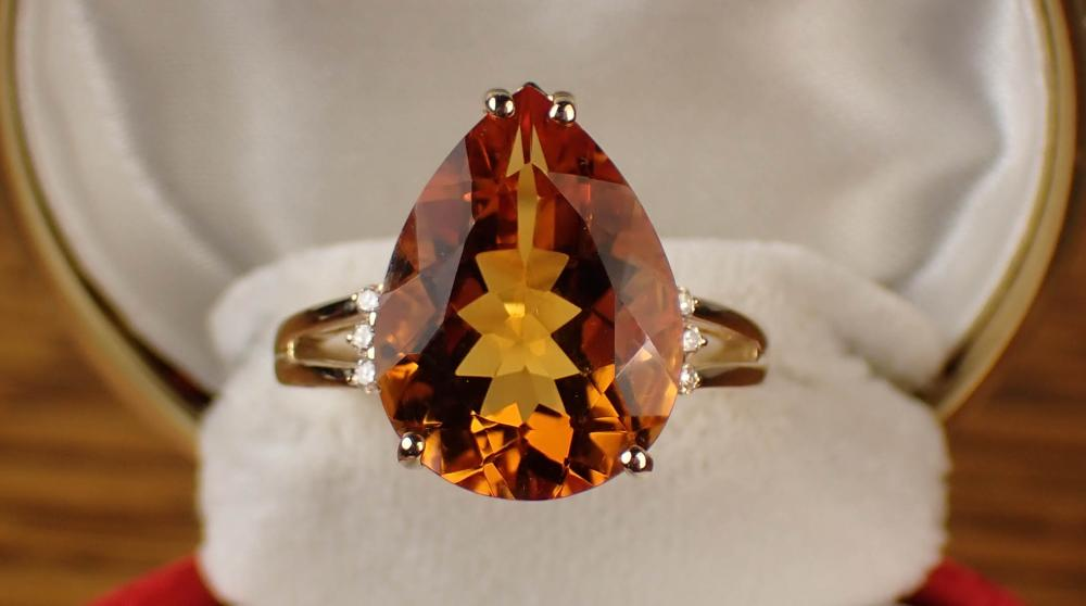 CITRINE, DIAMOND AND GOLD RING