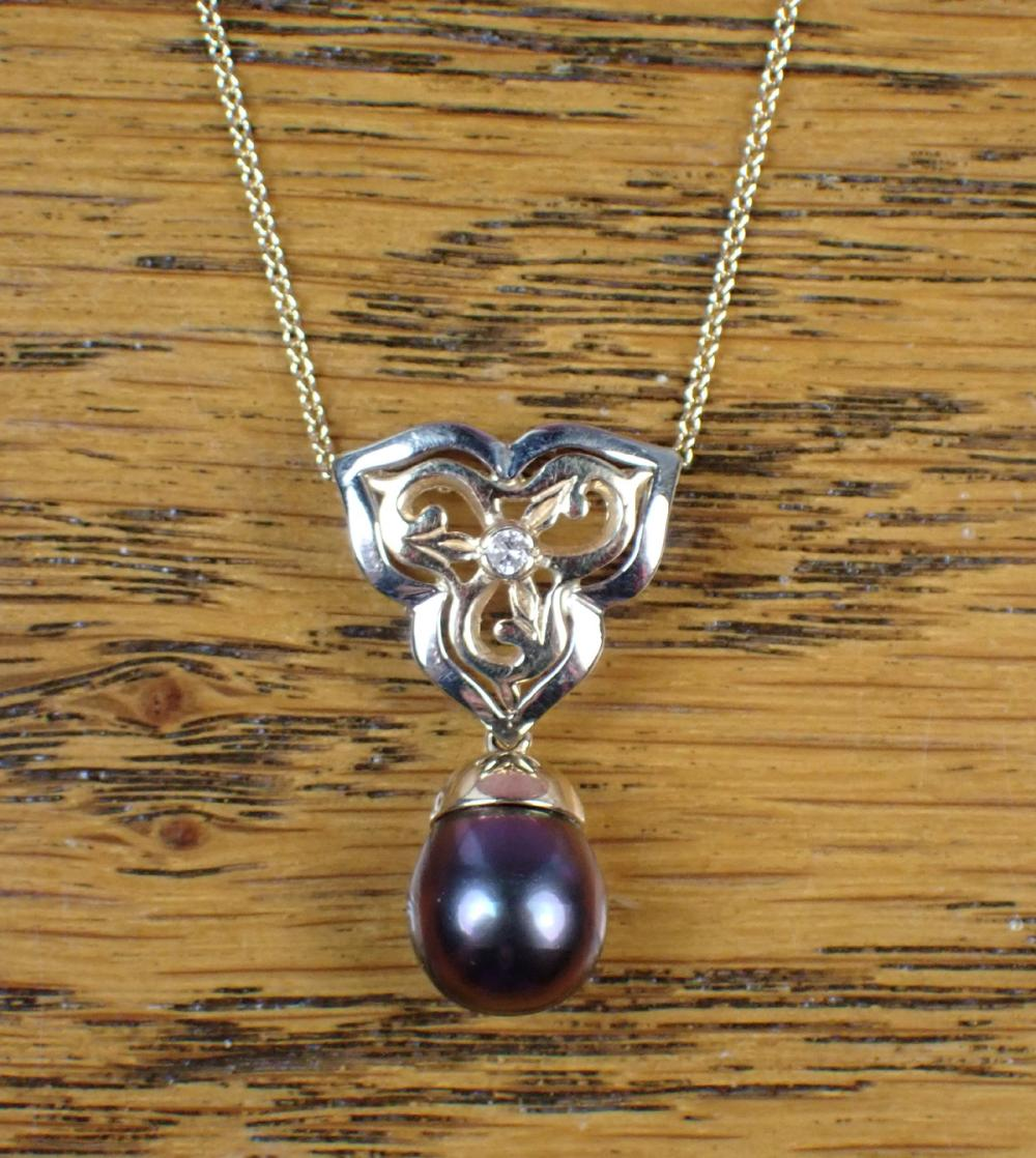 BLACK PEARL, DIAMOND AND GOLD PENDANT NECKLACE