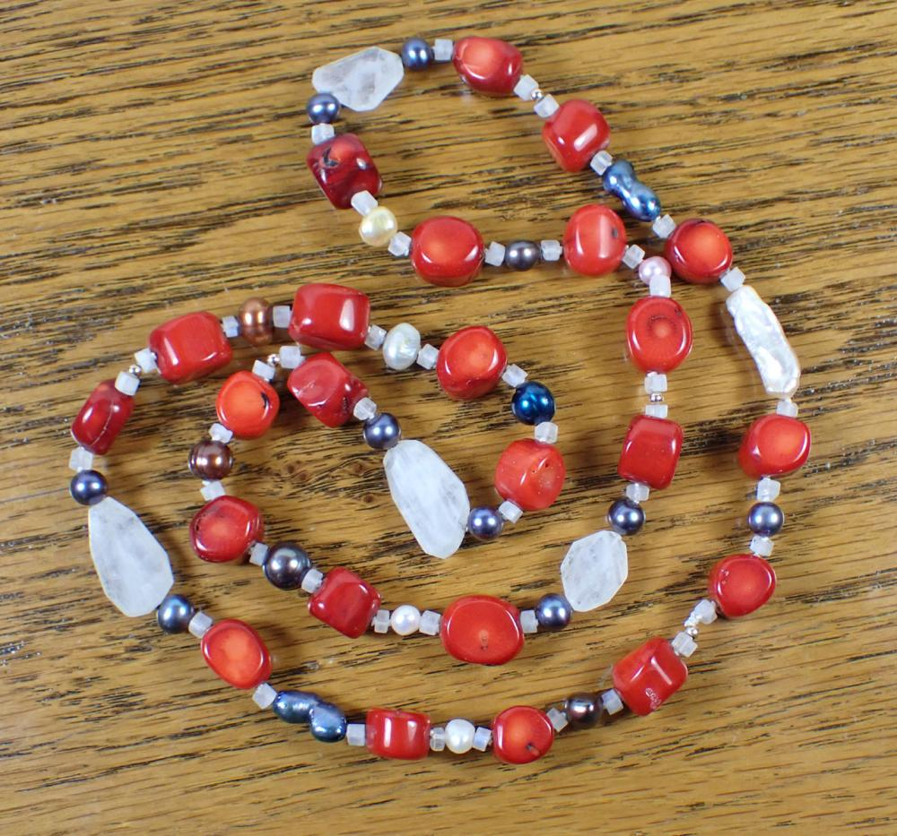 CORAL, RAINBOW MOONSTONE AND PEARL NECKLACE
