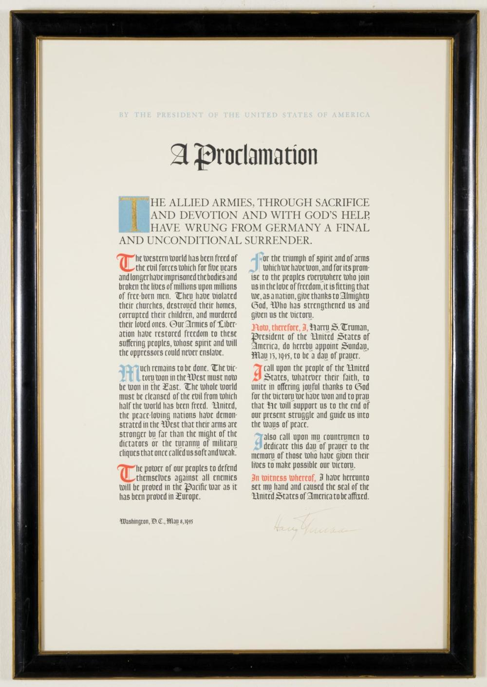 """PRESIDENT HARRY TRUMAN SIGNED PROCLAMATION OF A """"D"""