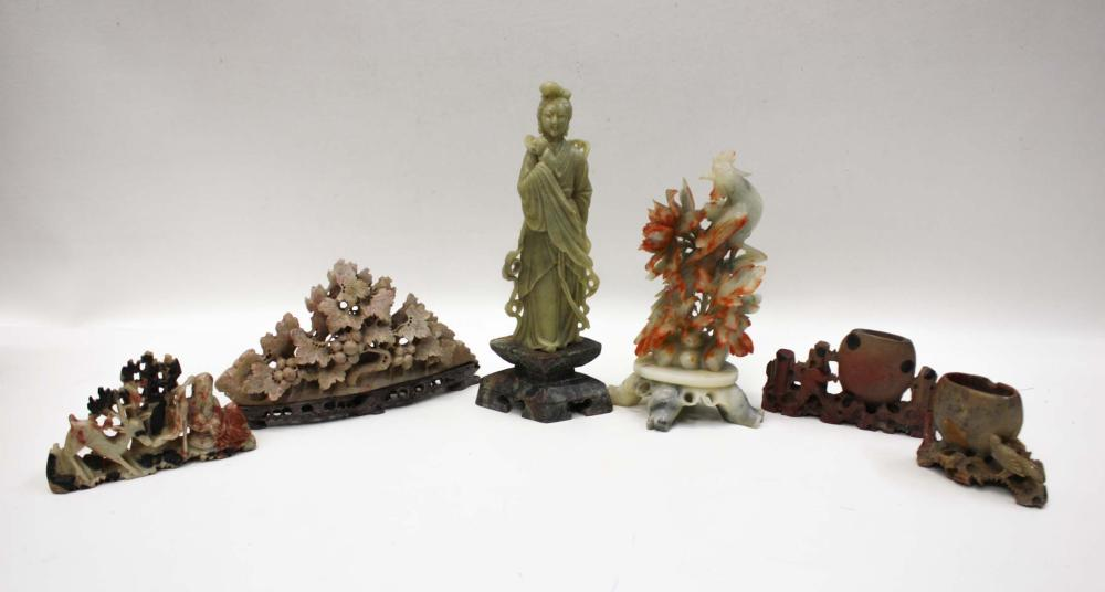 SIX CARVED SOAPSTONE SCULPTURES, including 1 depic