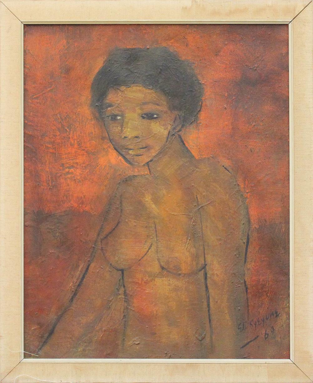 ELI KYEYUNE (Uganda, 1936-2000) oil on canvas, nud