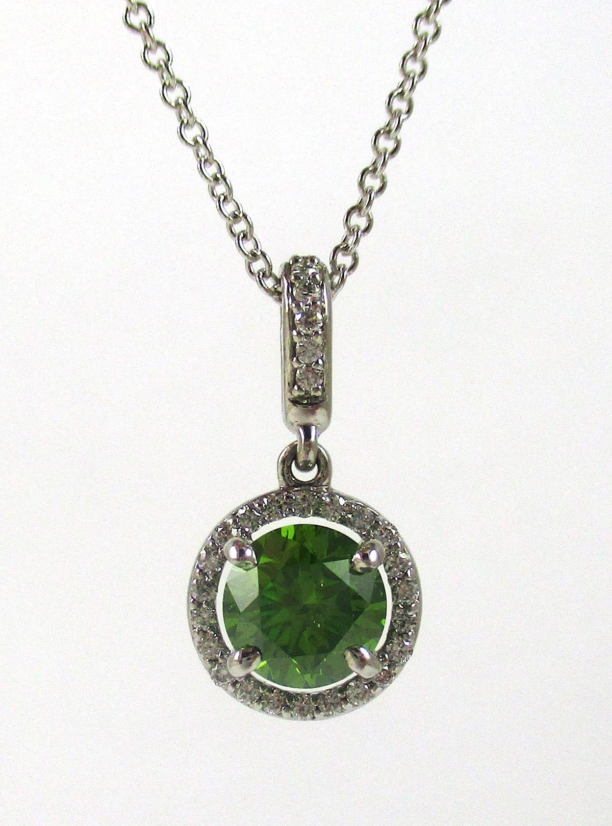 FANCY GREEN DIAMOND AND FOURTEEN KARAT GOLD PENDAN
