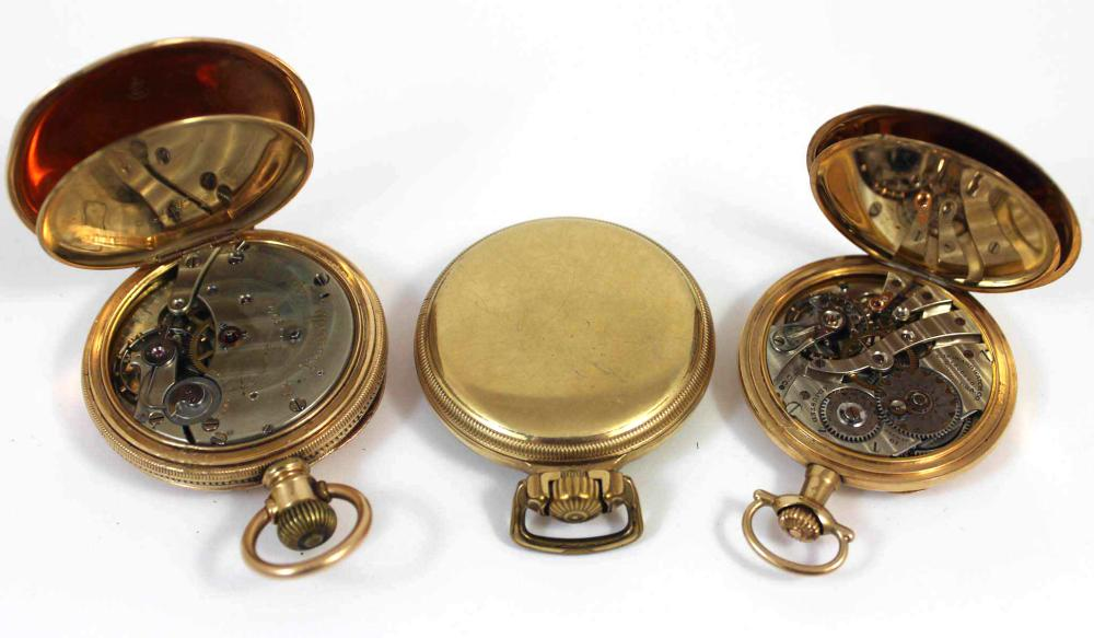 COLLECTION OF THREE GOLD PLATED OPEN FACE POCKET W