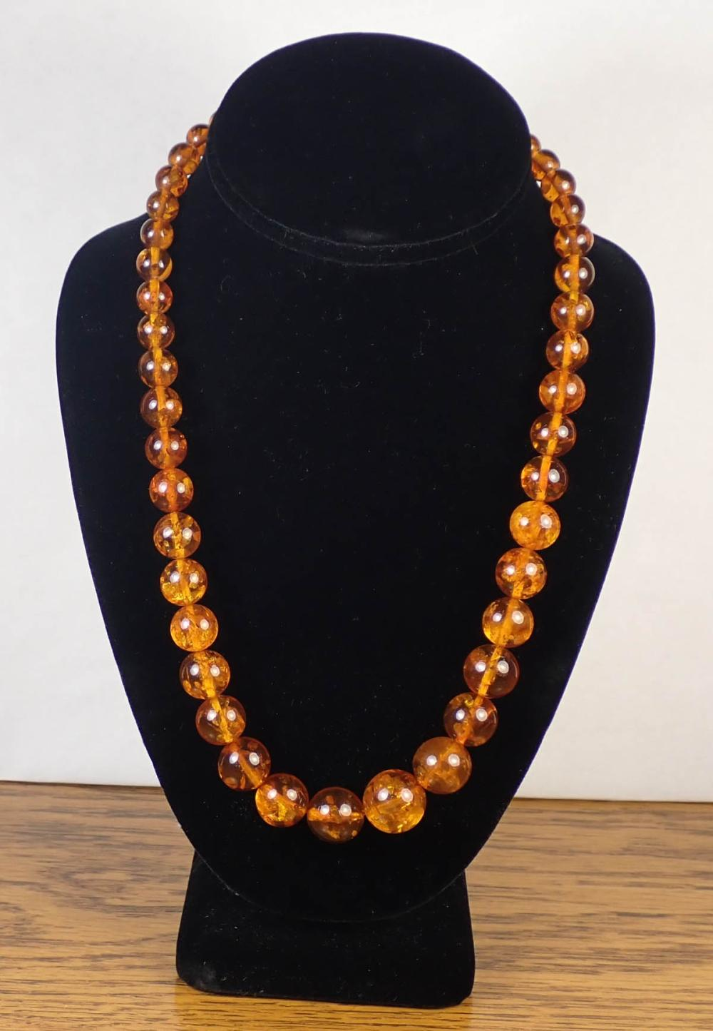 TWO NATURAL BALTIC AMBER BEAD NECKLACES