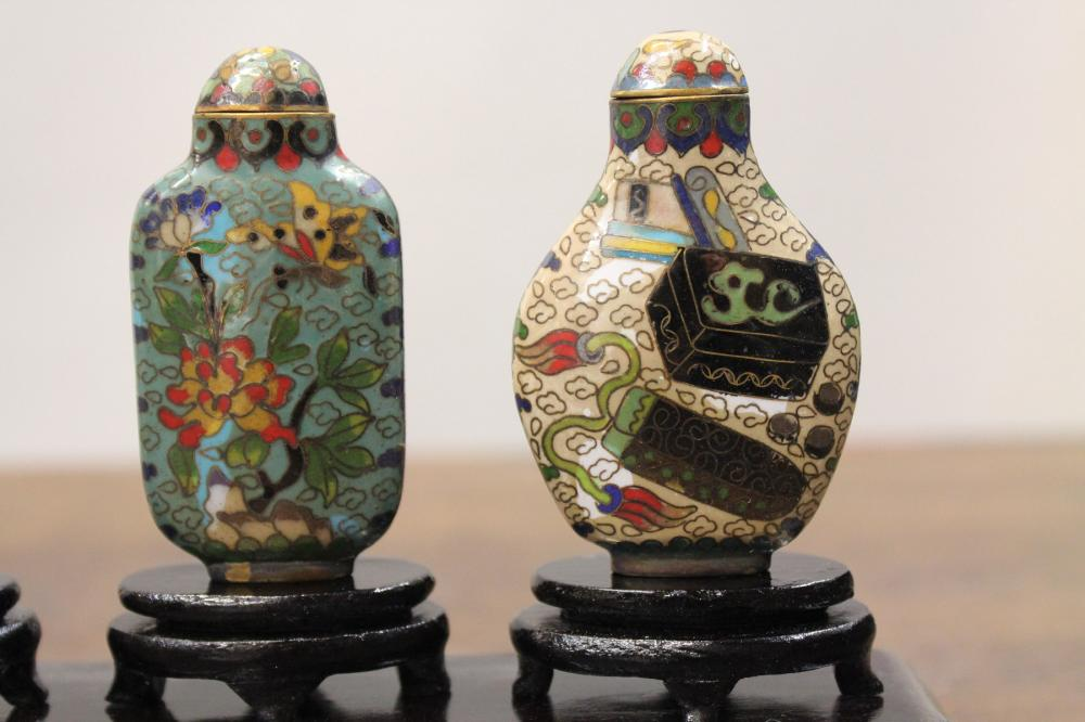 A CASED SET OF SIX CHINESE CLOISONNE SNUFF BOTTLES