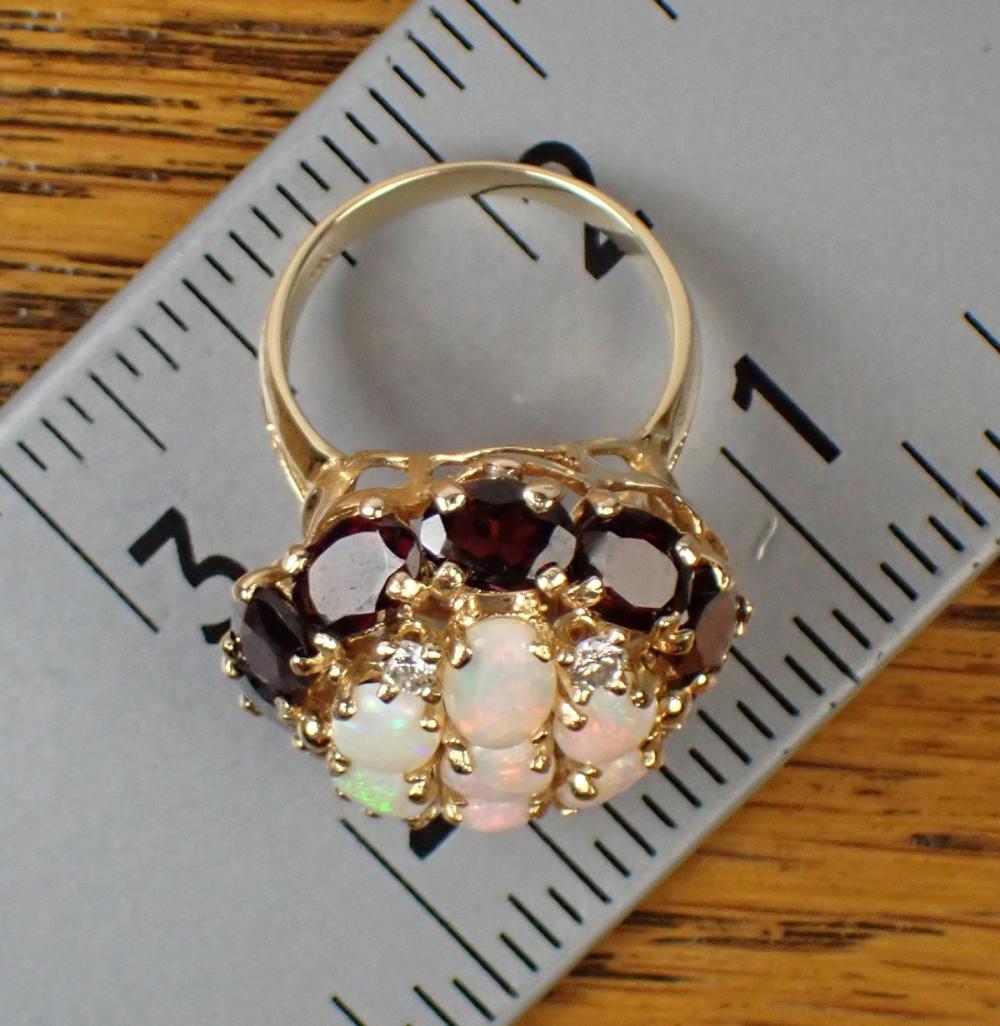 OPAL, GARNET, DIAMOND AND GOLD RING