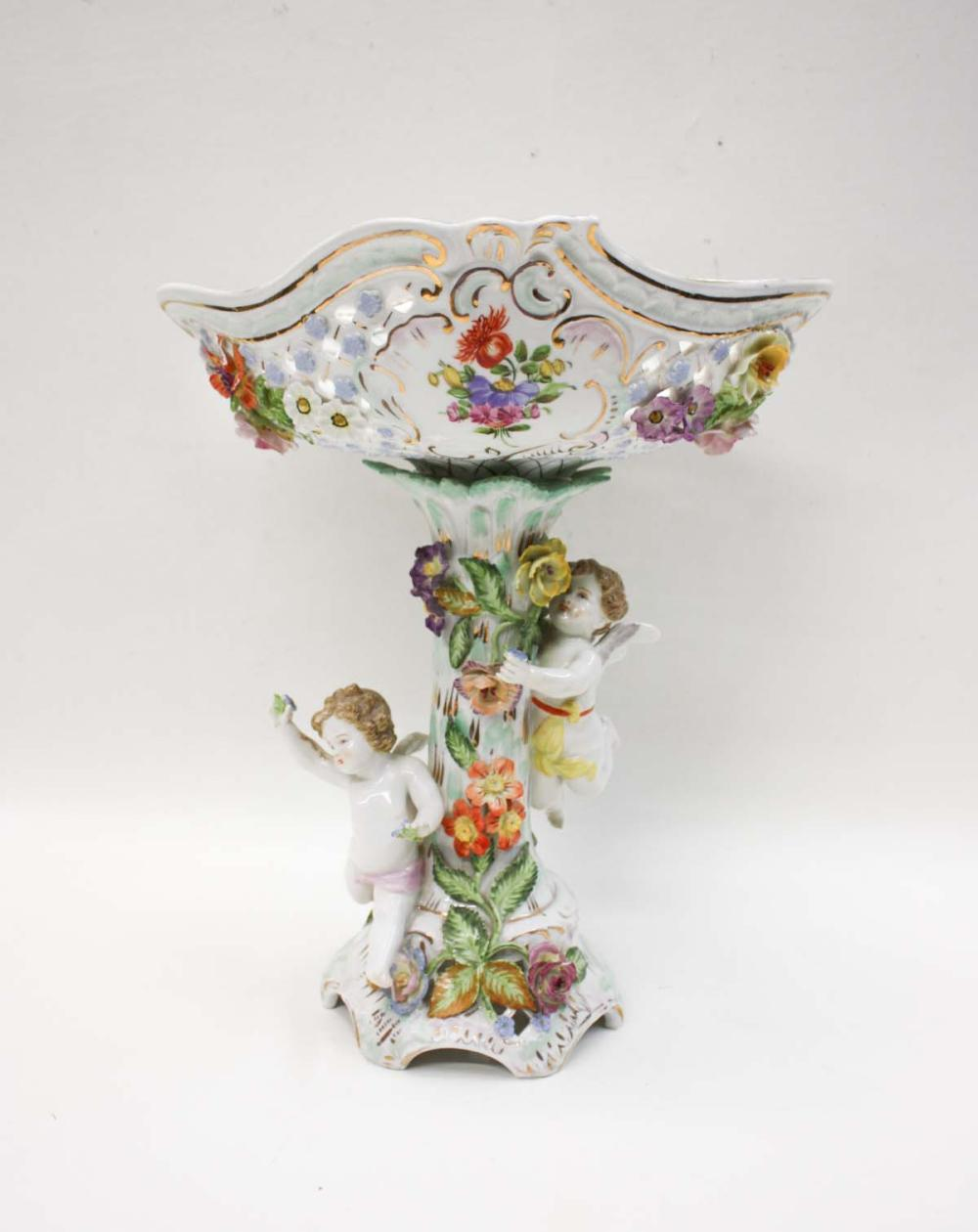 DRESDEN PORCELAIN COMPOTE, the reticulated oval bo