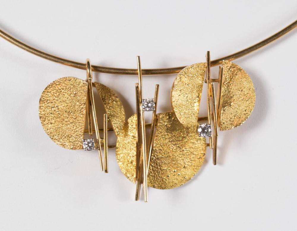 TONI CAVELTI diamond and 18K gold slider pendant and choker