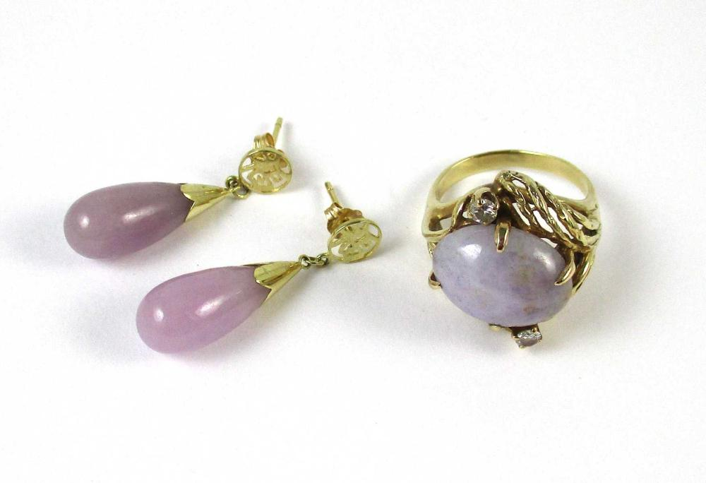 LAVENDER JADE RING AND PAIR OF EARRINGS, including