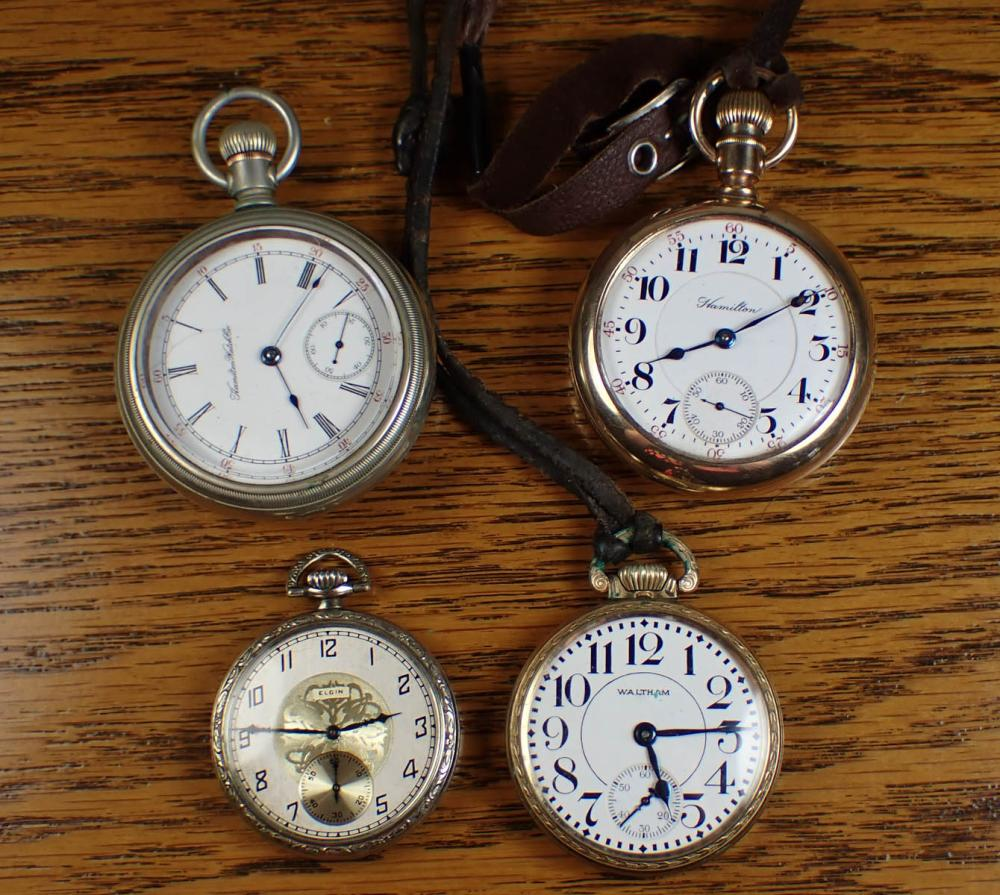 FOUR OPEN FACE POCKET WATCHES