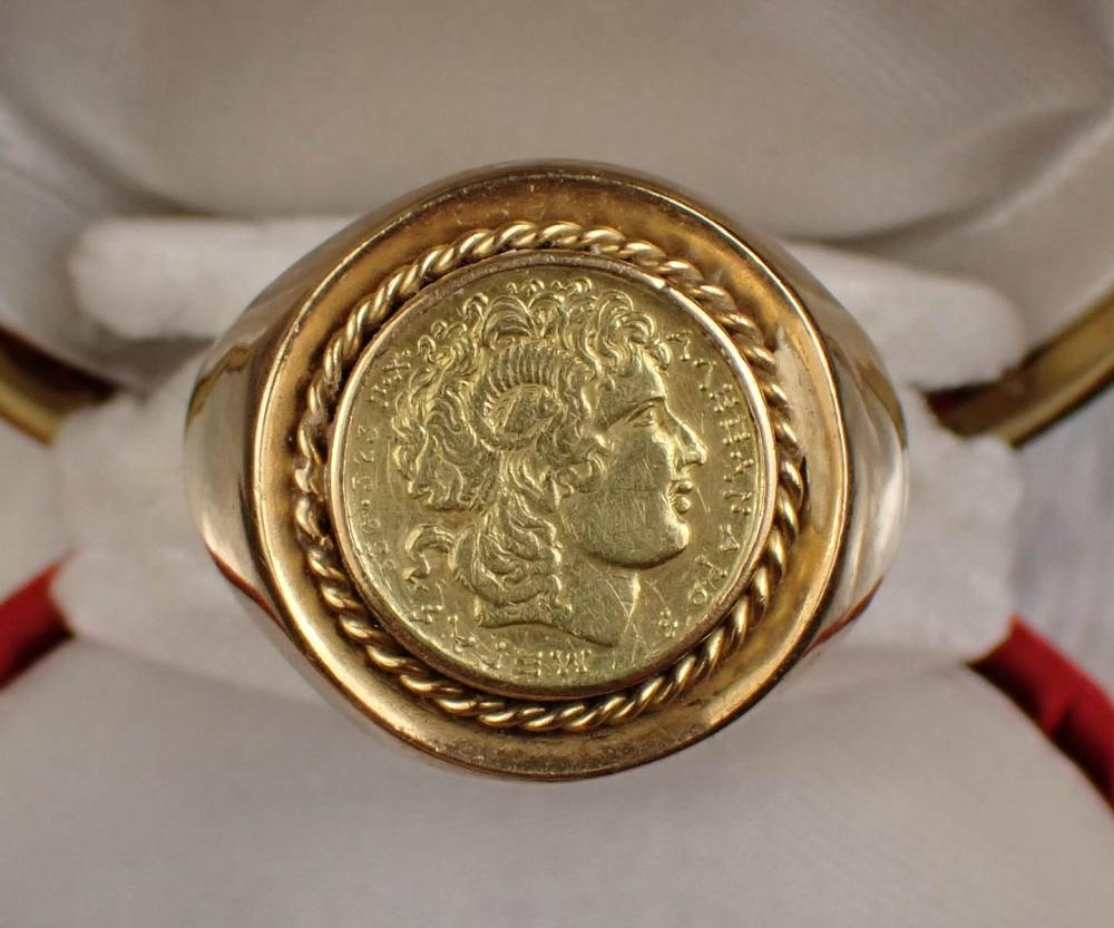 MAN'S GOLD COIN SOLITAIRE RING