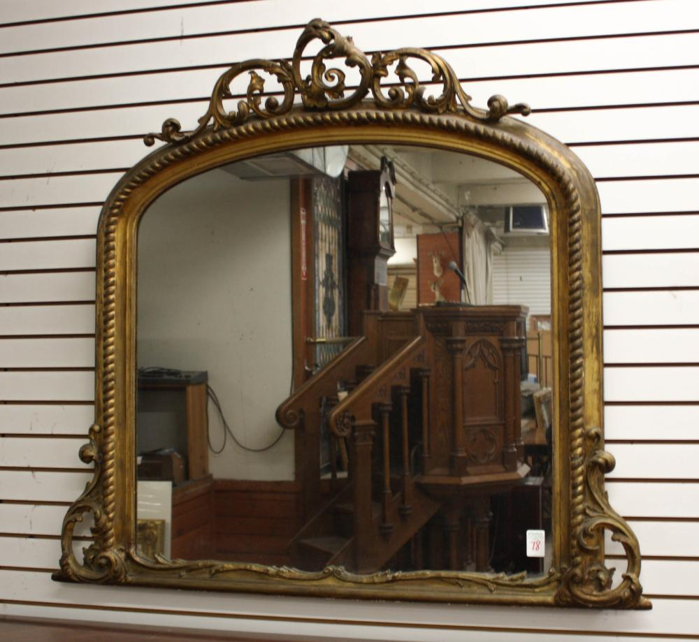 VICTORIAN GILTWOOD AND GESSO OVERMANTEL MIRROR
