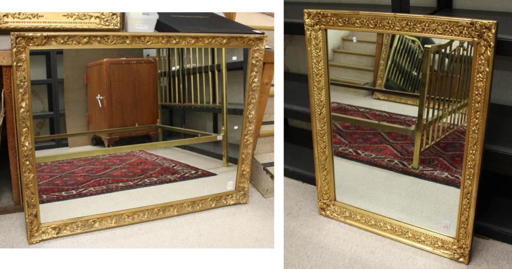 TWO GILTWOOD AND GESSO FRAMED WALL MIRRORS