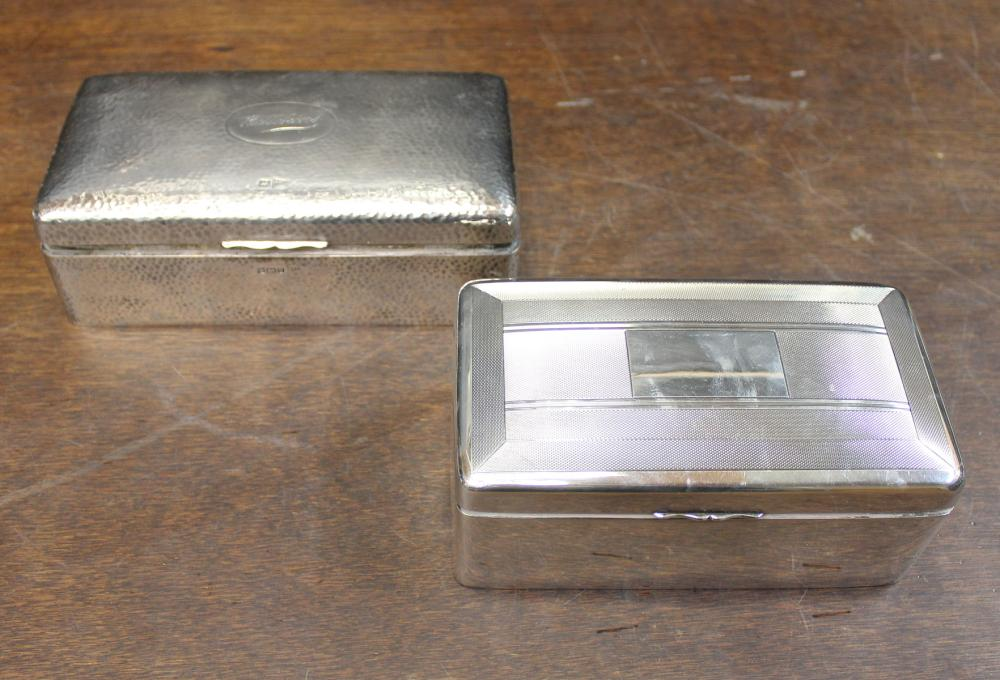 TWO BRITISH STERLING SILVER CIGARETTE BOXES