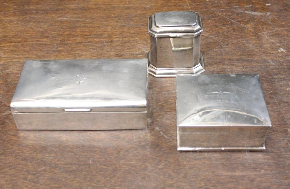 STERLING SILVER TEA CADDY AND TWO BOXES
