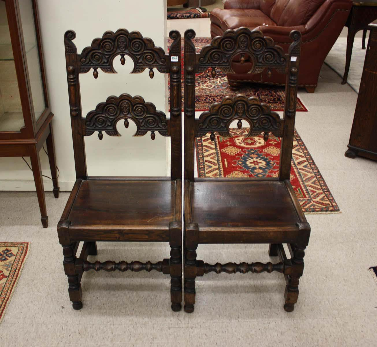 A SET OF FOUR CARVED OAK YORKSHIRE DINING CHAIRS,