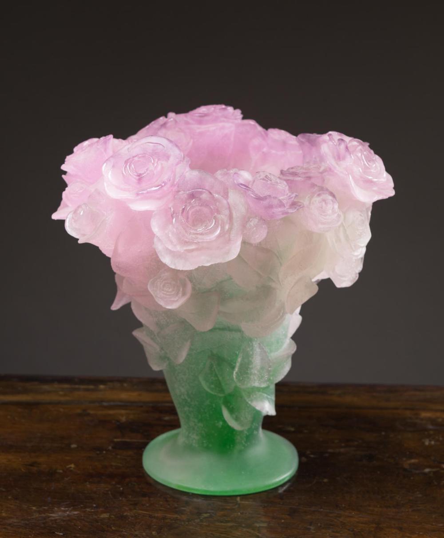 DAUM PATE DE VERRE GLASS ROSES VASE, French, c. 19