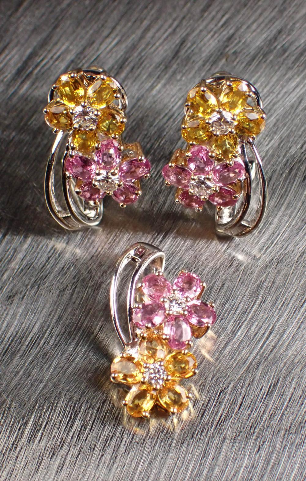 COLORED SAPPHIRE AND GOLD PENDANT & EARRINGS