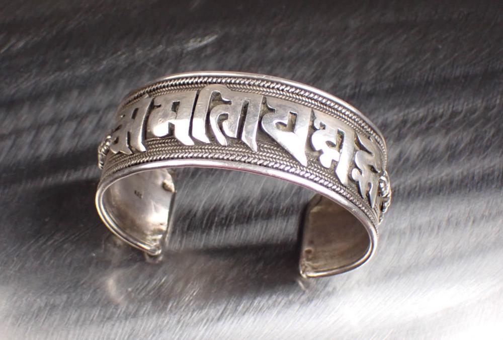 STERLING SILVER NEPALI MANTRA CUFF BRACELET
