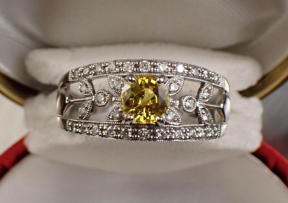 YELLOW SAPPHIRE, DIAMOND AND GOLD RING