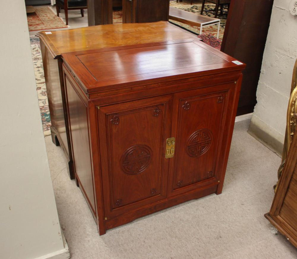 CHINESE ROSEWOOD SILVERWARE CABINET