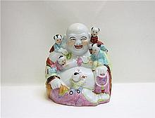 CHINESE REPUBLIC FAMILLE ROSE BUDDHA with a seated
