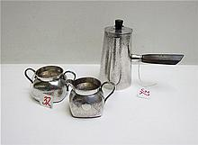 THREE JAPANESE EXPORT SILVER HOLLOWWARE PIECES, a