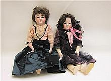 TWO ARMAND MARSEILLE BISQUE SOCKET HEAD DOLLS:
