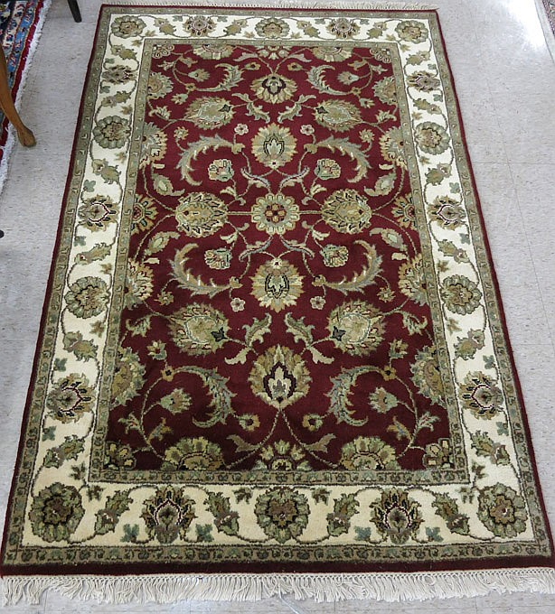 HAND KNOTTED ORIENTAL AREA RUG, Indo-Persian, over
